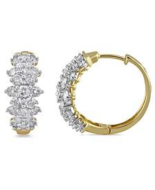 Diamond Cluster Hoop Earrings (2 ct. t.w.) in 10k Gold