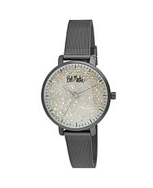 Women's Black Alloy Bracelet Glitter Dial Mesh Watch, 32mm