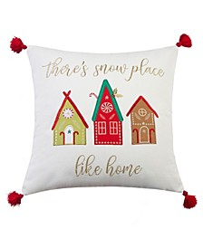 """Home Merry Bright Gnome for the Holidays Home 18"""" X 18"""" Pillow"""