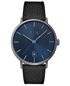 Men's Norrebro Black Leather Strap Watch 40mm