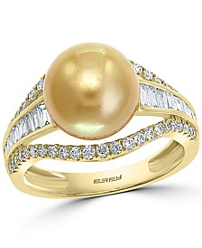 EFFY® Cultured Golden South Sea Pearl (10mm) & Diamond (5/8 ct. t.w.) Ring in 14k Gold