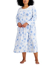 Plus Size Printed Fleece Long Nightgown, Created for Macy's