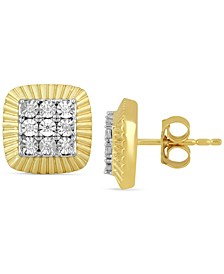 Men's Diamond Square Cluster Stud Earrings (1/20 ct. t.w.) in 18k Gold-Plated Sterling Silver