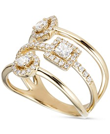 Diamond Halo Clusters Multi-Row Statement Ring (3/4 ct. t.w.) in 14k Gold