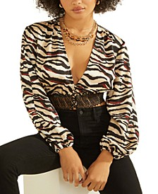 Kirklee Animal-Print Crop Top