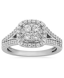Diamond Halo Cluster Ring (3/4 ct. t.w.) in 10k White Gold