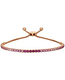 Pink Ruby (1-3/4 ct. t.w.) & White Sapphire (1/4 ct. t.w.) Ombré Bolo Bracelet in 14k Rose Gold