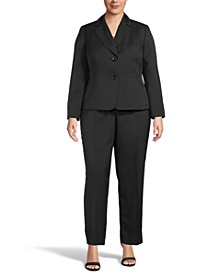 Plus Size Mini-Crosshatch Pantsuit