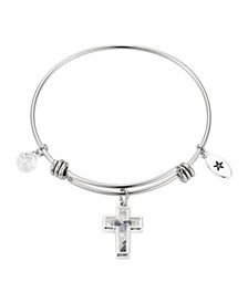 Cross with Multi-Blue Crystal Shaker Adjustable Bangle Bracelet in Stainless Steel with Fine Silver Plated Charms