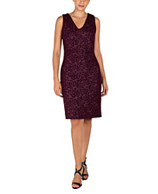 Donna Ricco Jacquard V-Back Sheath Dress