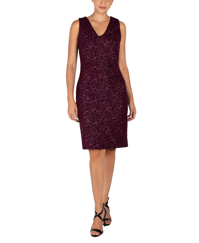 Donna Ricco - Jacquard V-Back Sheath Dress