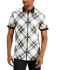 INC Men's Plaid Zip-Up Short Sleeve Shirt, Created for Macy's