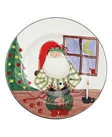 Old St. Nick Rimmed Round Platter w/ Wreath