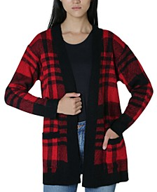 Juniors' Plaid Cardigan