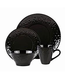 16 Piece Stoneware Scroll Dinnerware Set, Service for 4