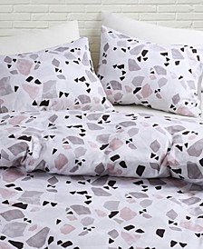Terrazzo Printed King Duvet Cover Set, 3 Piece
