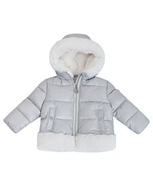 Baby Girls Heavy Weight Puffer Jacket with Faux Fur Detail