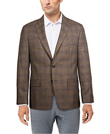 Men's Classic-Fit Ultraflex Stretch Brown Plaid Blazer