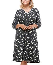 Trendy Plus Size Floral-Print Button-Front Dress