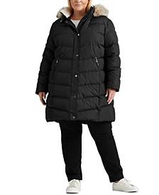 Plus Size Faux-Fur-Trim Hooded Down Coat