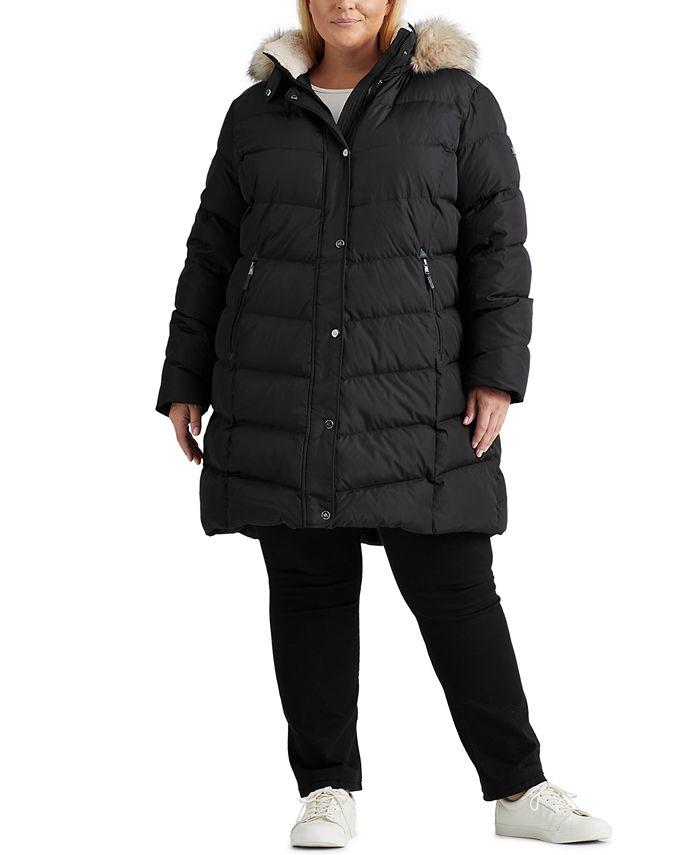 Lauren Ralph Lauren - Plus Size Faux-Fur-Trim Hooded Down Coat