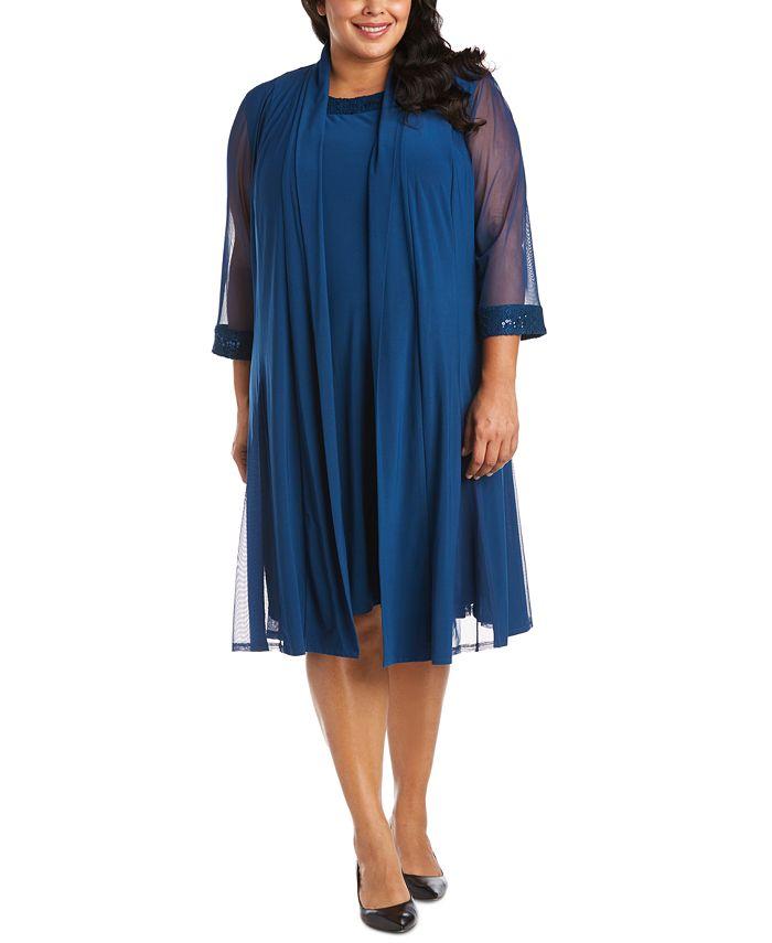 R & M Richards - Plus-Size Embellished Dress & Jacket Set