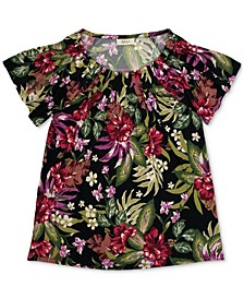 Floral-Print Pleat-Neck Top, Created for Macy's