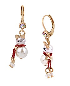 Pearl Kitty Drop Earrings