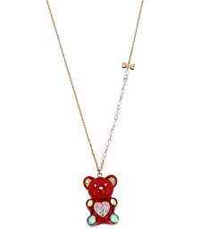 "Festive Gummy Bead Pendant Long Necklace, 28"" + 3"" extender"