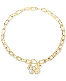 "INC Gold-Tone Imitation & Genuine Pearl Oval-Link 16-1/2"" Short Pendant Necklace, Created for Macy's"