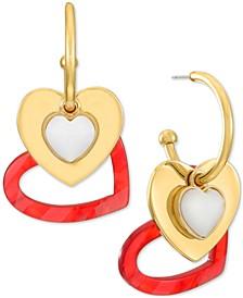 INC Gold-Tone Multi Heart Charm Hoop Earrings, Created for Macy's