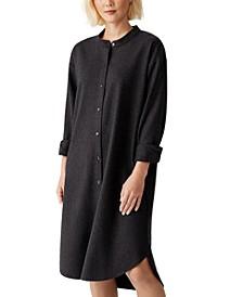 Button-Down Wool Shirt Dress