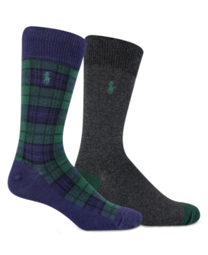 Polo Ralph Lauren MEN'S 2-PACK BLACKWATCH TARTAN SOCKS