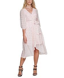 Foil-Dot Faux-Wrap Midi Dress