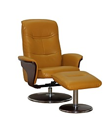 Milano Modern Bentwood Swivel Recliner with Ottoman Set