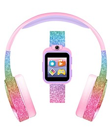 Kid's Playzoom Pink Rainbow Glitter Tpu Strap Smart Watch with Headphones Set 41mm