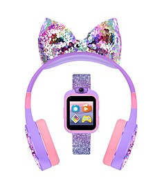 Kid's Playzoom Purple Glitter Tpu Strap Smart Watch with Headphones Set 41mm