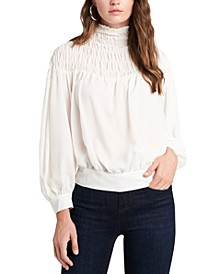 Smocked Mock-Neck Blouse