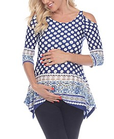Women's Maternity Printed Cold Shoulder Tunic