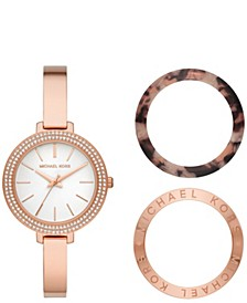 Women's Jaryn Rose Gold-Tone Stainless Steel Bangle Watch Giftset 36mm