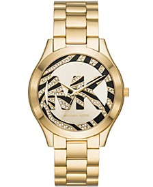 Women's Slim Runway Gold-Tone Stainless Steel Bracelet Watch 42mm