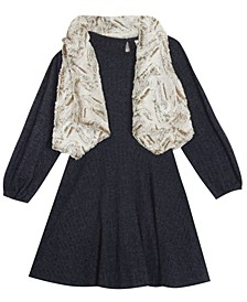 Big Girl Sweater Knit Dress With Faux Fur Vest
