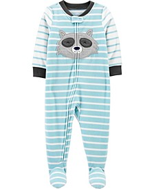 Toddler Boy 1-Piece Raccoon Fleece Footie PJs