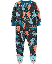 Toddler Boy 1-Piece Dragon Fleece Footie PJs