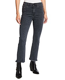 Printed High-Rise Cropped Slim Kick Jeans