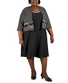 Plus Size Dress & Patterned Jacket