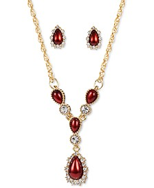 Gold-Tone Crystal & Colored Imitation Pearl Lariat Necklace & Stud Earrings Set, Created for Macy's