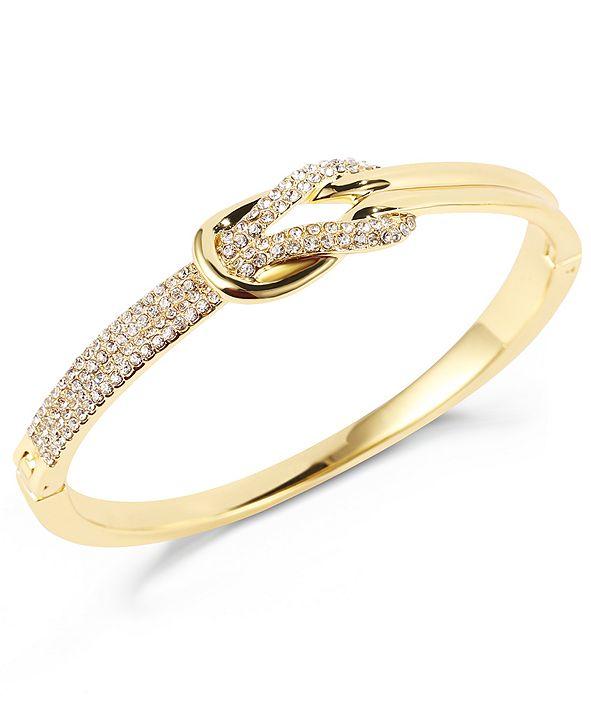 Charter Club Gold-Tone Pavé Knot Box Bracelet, Created for Macy's