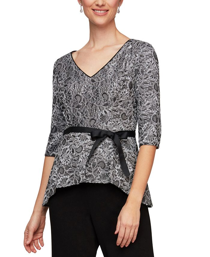 Alex Evenings - Tie-Belt Lace Peplum Top