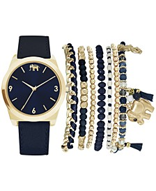 Women's Navy Blue Strap Watch 36mm Gift Set